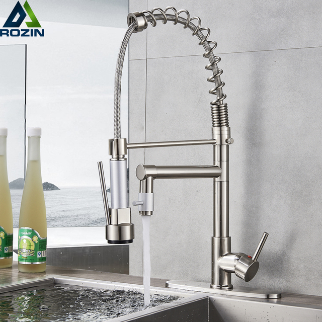 Brushed Nickel Spring Kitchen Faucet Swivel Side Sprayer Dual Spout Kitchen  Mixer Tap Kitchen Sink Faucet