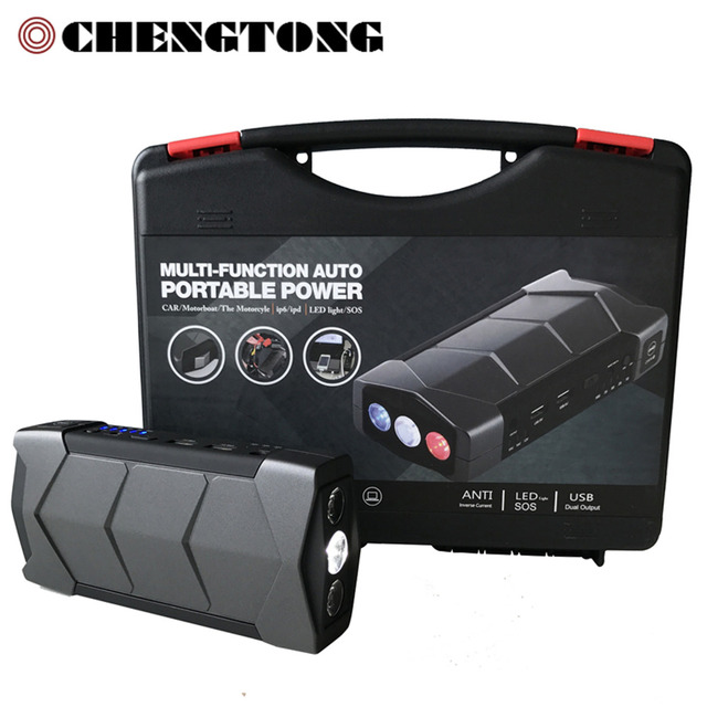 Portable 12000mAh High Capacity Jump Starter Black Engine EPS Emergency Battery Laptop Phone Power Bank Safety Hammer CS017