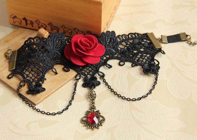 Handmade Armband Rhinestone Drop Red Flower Chain Black Lace Arm Band  Armlet Bracelet Dance Gothic Jewelry 55a73faa83ec