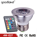 Goodland E27 RGB LED Lamp 4W AC110V 220V Lampada LED RGB Light Bulb RGB LED Spotlight 16 Colors Change + IR Remote Controller
