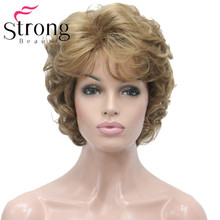 StrongBeauty Womens Short Wig Golden Soft Tousled Curls Full Synthetic Wigs