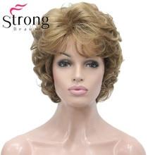 StrongBeauty נשים של קצר פאת זהב רך תלתלים פרועים מלא סינטטי פאות