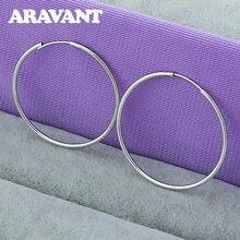 Joyería de plata 925 35mm lisa redonda círculo pendientes para las mujeres joyería de moda