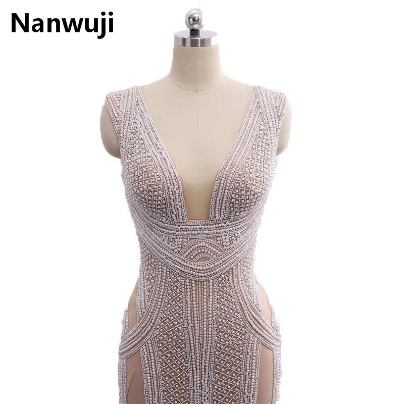 Instock Sirena Večernje haljine Dugi 2017 Novo s dubokim V-Neck - Haljina za posebne prigode - Foto 3