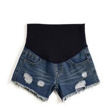 M-XXXXL pregnancy summer fashion hole denim shorts elastic waist adjustable maternity pregnant stomach lift