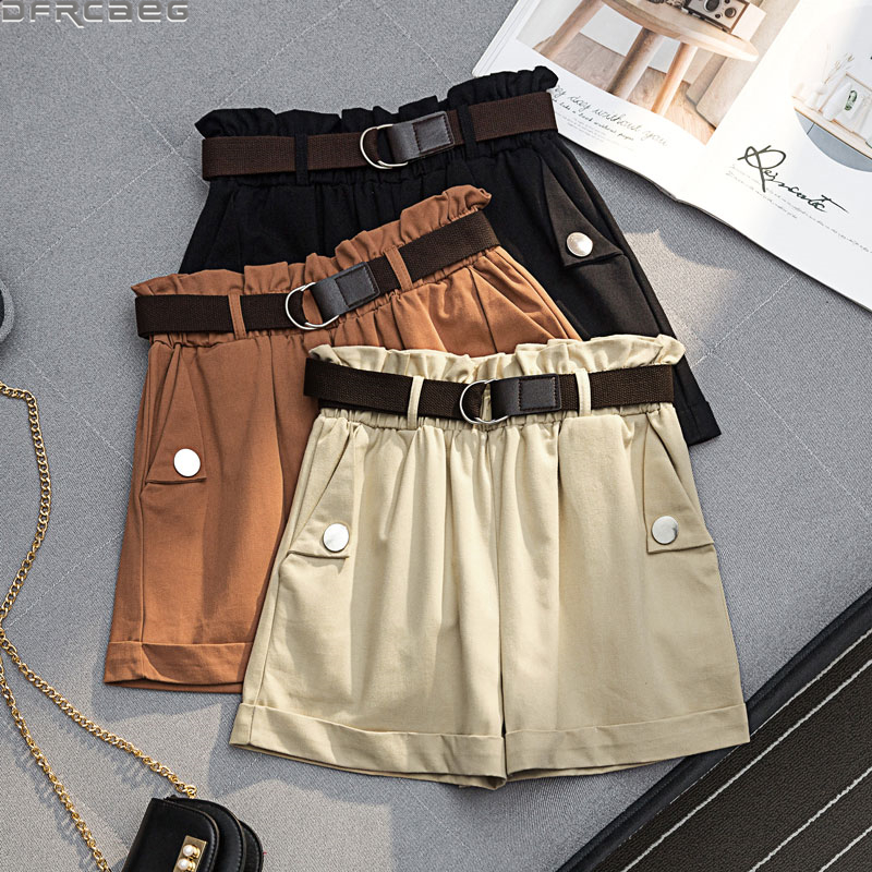 New Hot Streetwear Summer Plus Size Shorts Women Loose High Waist Cargo Ladies Shorts Mujer With Belt Mini Harajuku Short Femme