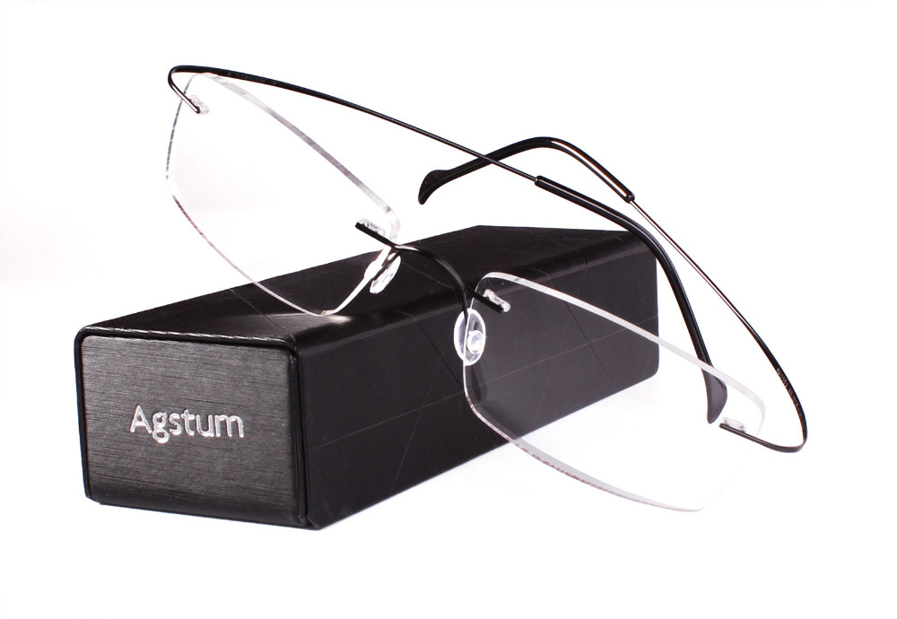 fd86daf581 Best buy Agstum 55mm Rimless Frame Pure Titanium Prescription Hingeless Eyeglasses  Rx Clear Lenses online cheap
