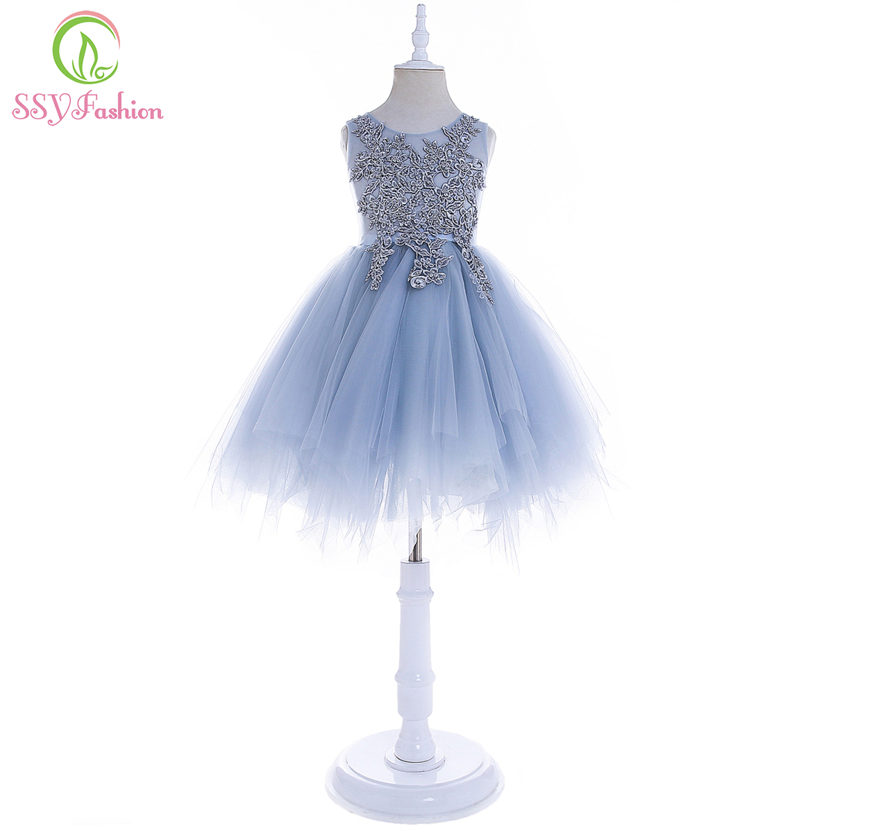 SSYFashion New   Flower     Girl     Dresses   for Wedding Party Sleeveless Lace Appliques with Beading Short Children Princess Formal   Dress