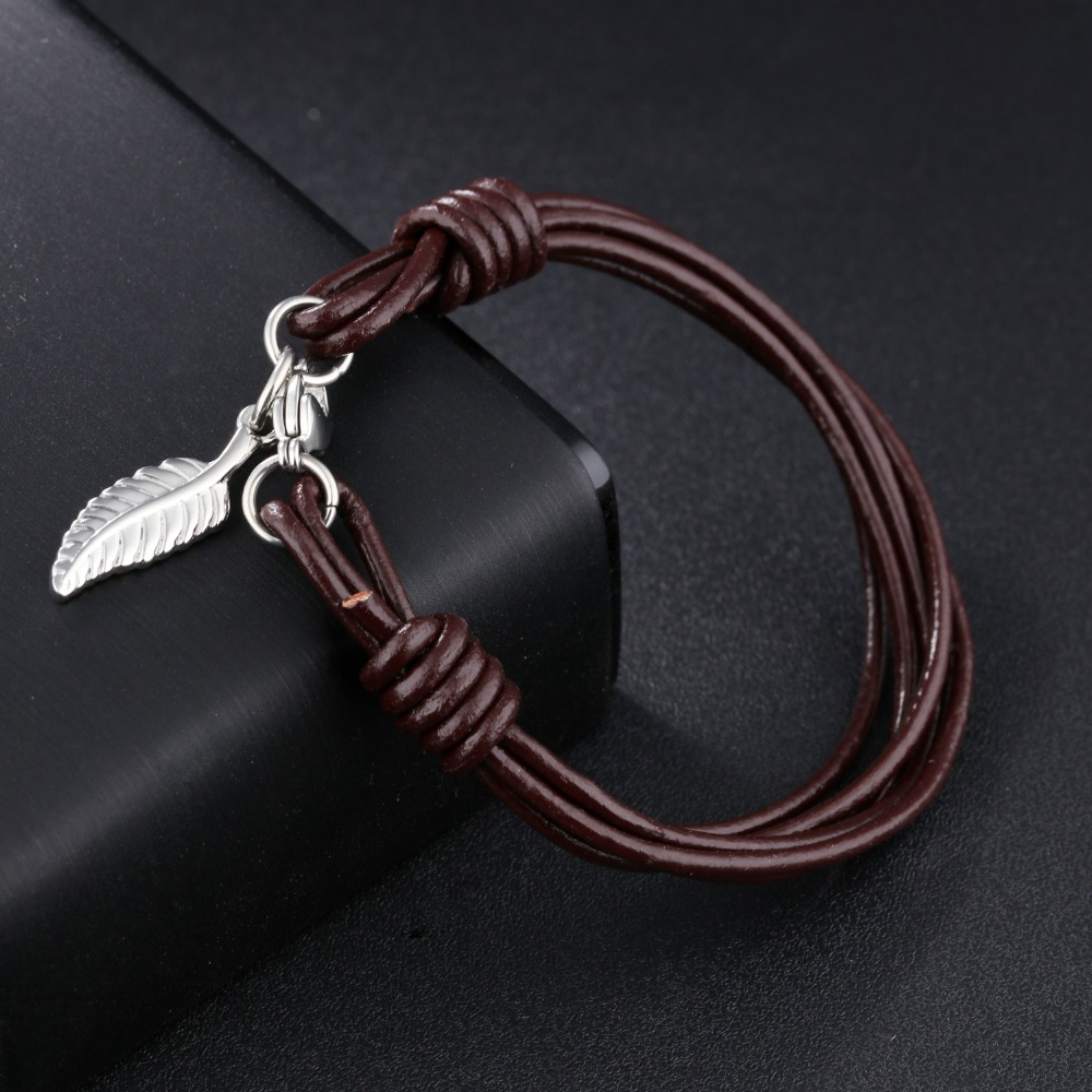 AZIZ BEKKAOUI Unique Punk Men Jewelry Leather Bracelet Stainless Steel Fashion Bangle Summer Jewelry Best Gift