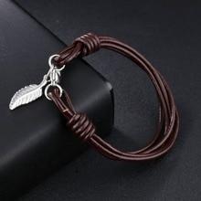 Азиза BEKKAOUI Уникальный Панк Для мужчин ювелирные изделия кожаный браслет Нержавеющаясталь Мода браслет Лето ювелирные изделия best подарок для Для мужчин