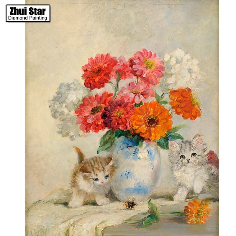 5D diamond Painting cross stitch embroidery painting cute kitten ...