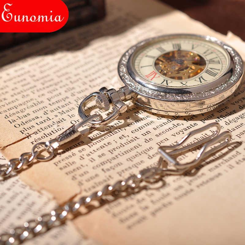 Bạc trắng Phụ Nữ Vòng Cổ Chain Luxury Món Quà Người Yêu Nam Đồng Hồ Thời Trang Skeleton Steampunk Pocket Watch Cơ Đồng Hồ Cổ Điển