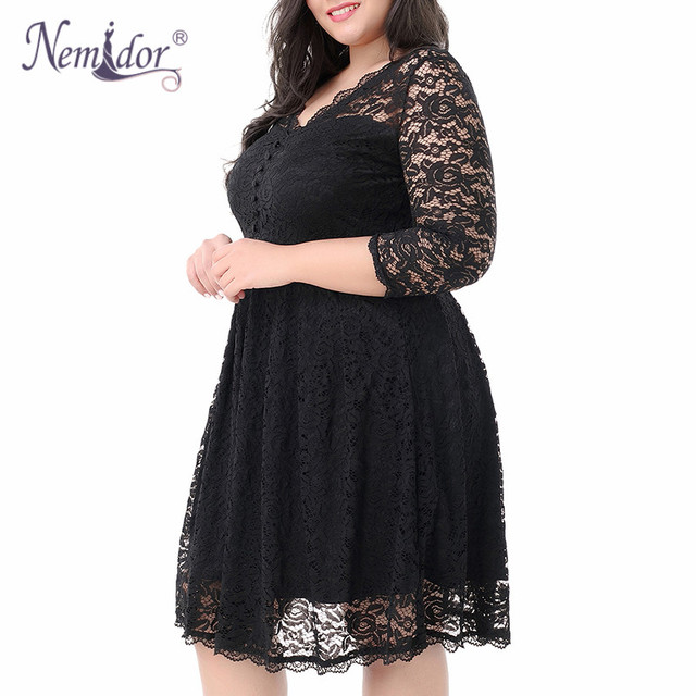Women Elegant 3/4 Sleeve Midi Cocktail A-line Dress Sexy V-neck Party Plus Size 8XL 9XL Vintage Swing Lace Dress 4