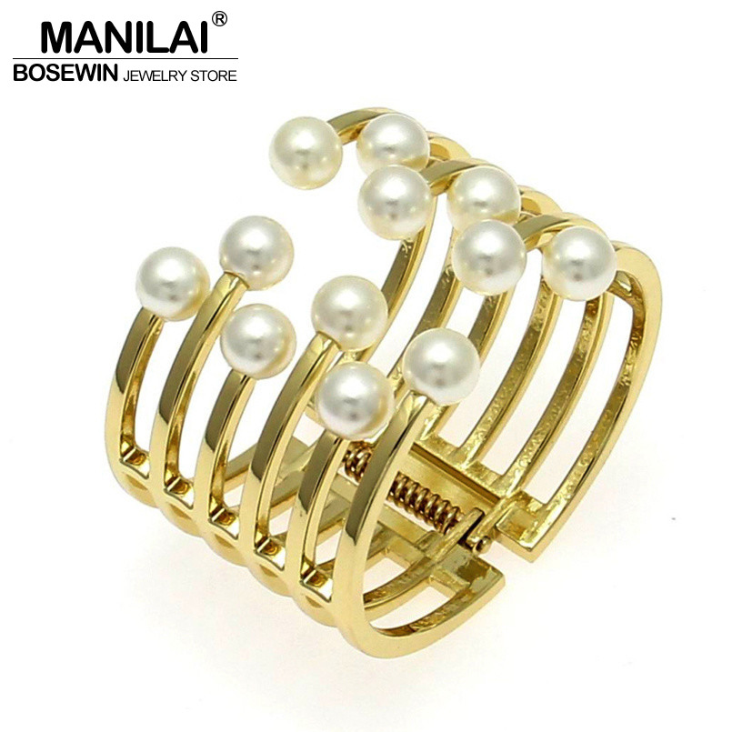 все цены на MANILAI Fashion Women Bracelets Jonc Charm Accessories Imitation Pearl Cuff Bangles Bracelets Manchette Statement Jewelry Gift