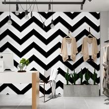 Modern minimalist black and white stripes wave wallpaper hairdressing clothing shop restaurant 3D living room background fashion wave shop ru