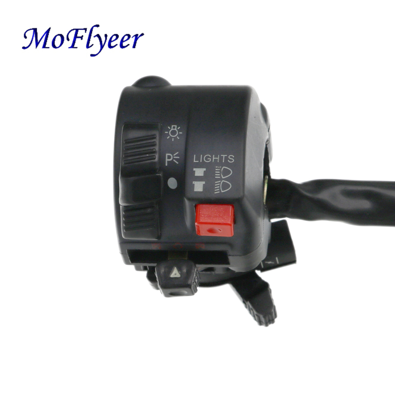 MoFlyeer 7 8 quot Motorcycle Handlebar Switch Assembly Engine Electric Start Kill Horn Headlight Fog Light Push Button Switches in Motorcycle Switches from Automobiles amp Motorcycles