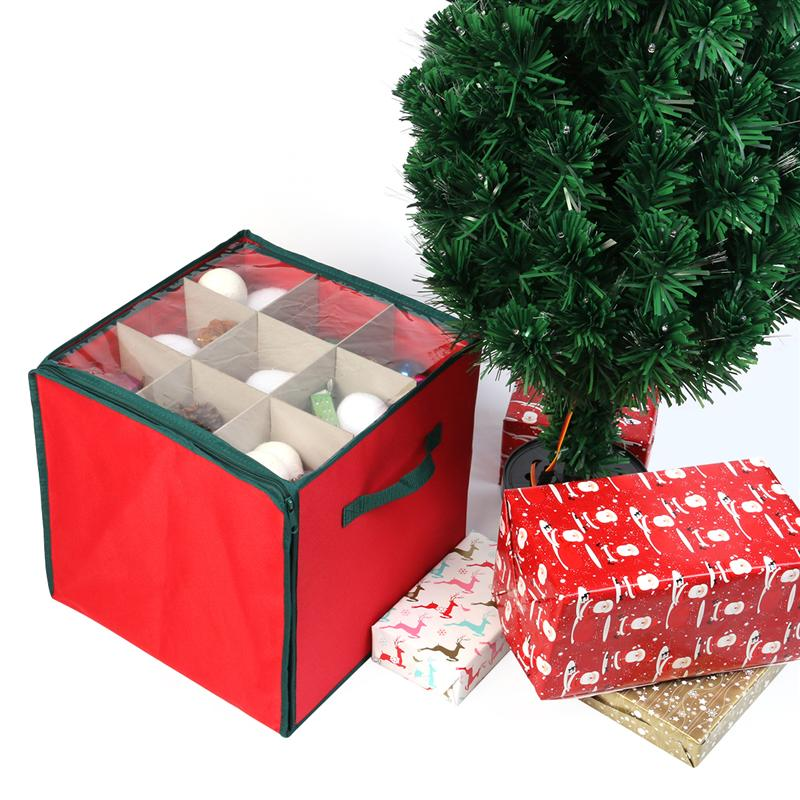 nicexmas holiday christmas ornament storage chest with 3 trays holds up to 27 ornaments balls with dividers red in figurines miniatures from home