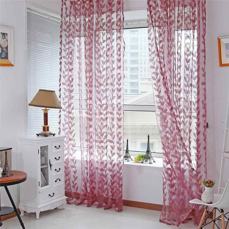 Romantic Sheer Leaf Printed Door Window Curtain Tulle Scarf Drape Voile Valances Simple Style Living Room Bedroom Decoration