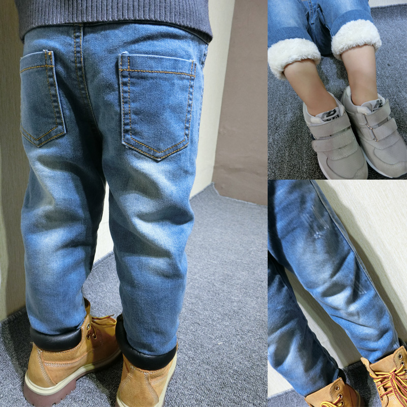 ФОТО Children with winter warm trousers trousers jeans cashmere fleece casual all-match thickened boy pants