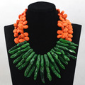 Fashion Gorthic Green Coral Bead Pendant Wedding Necklace Orange Turquoise Beads Necklace for Women CNR596