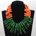 Moda gorthic verde del grano del coral turquesa collar de los granos para las mujeres colgante collar de la boda de orange cnr596