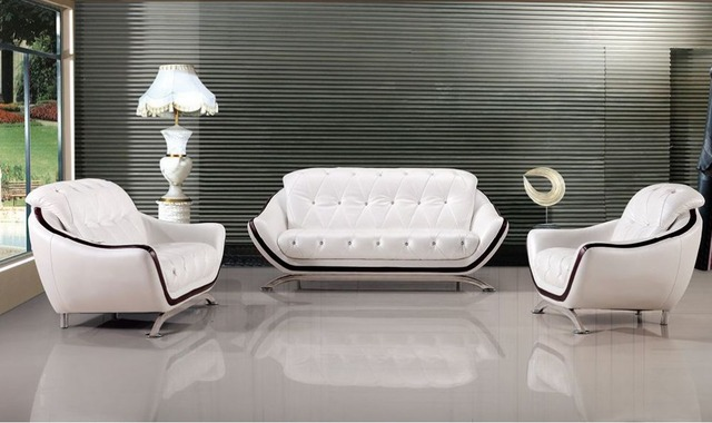 Lizz Comfortable Couch Button Tufted Sofa Contemporary Office Sofa White  Genuine Leather Sofa