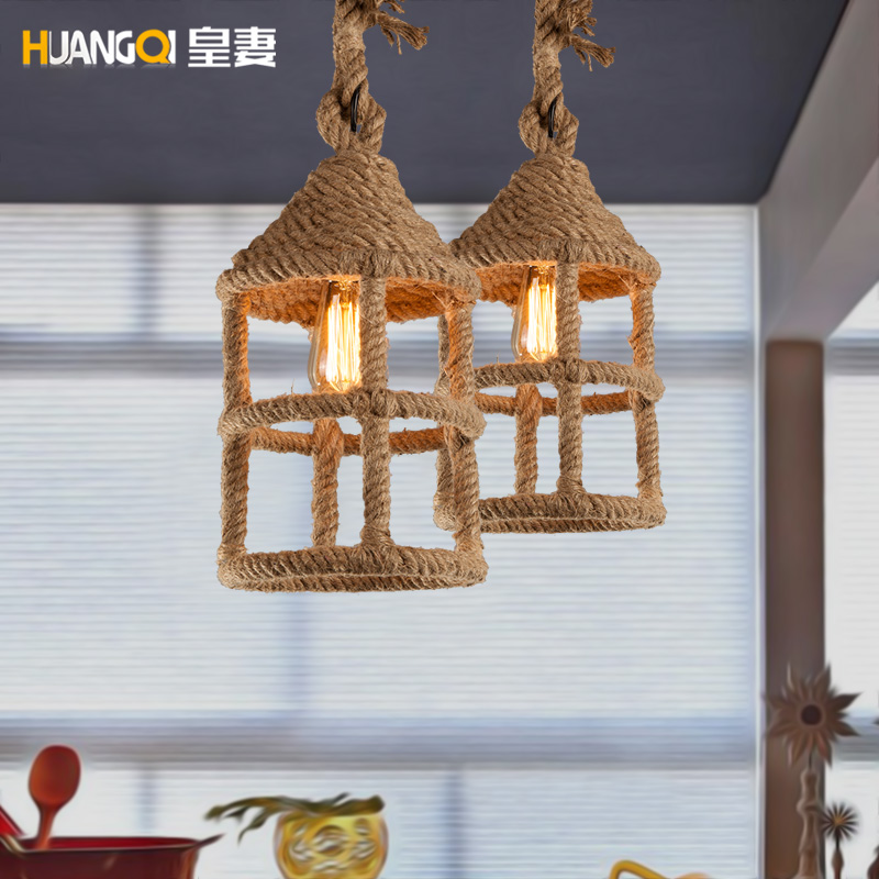 American country industrial hemp hand woven chandelier bar retro coffee theme hall bar small Chandelier