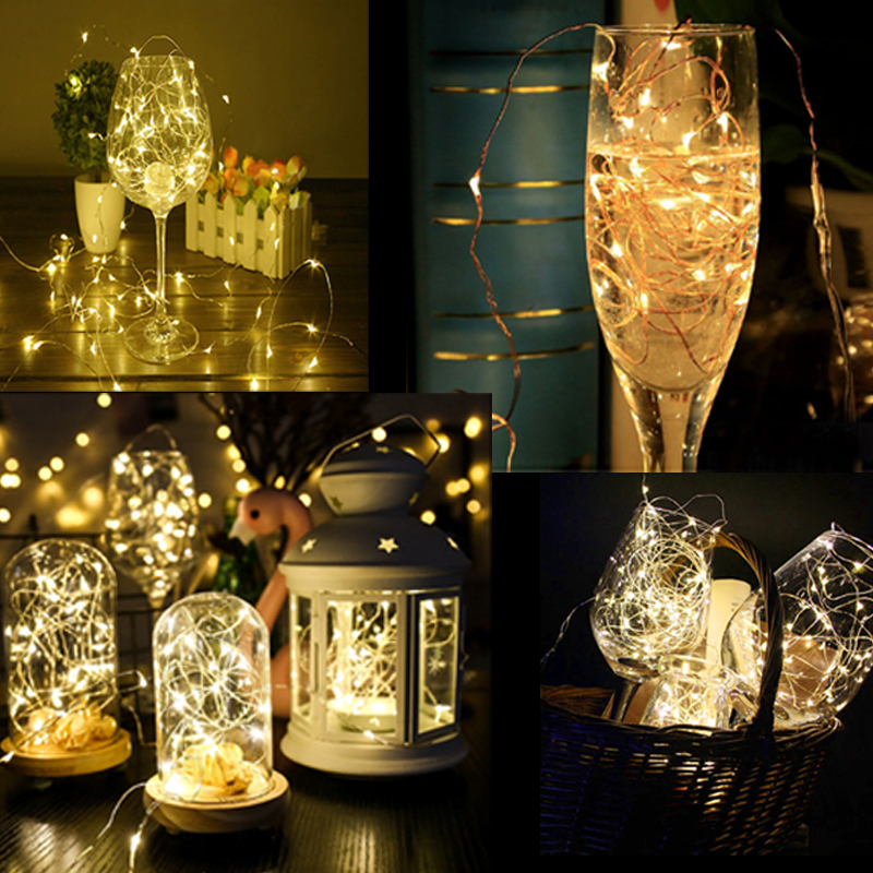 AA Battery Powered 2M 5M 10M 100 led Christmas Holiday Wedding Party Decoration Festi Copper Led String Fairy Light Lamp