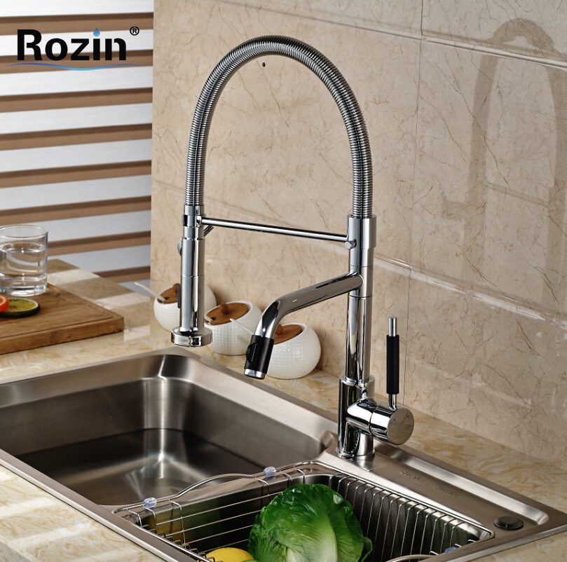 Fashion Dual Swivel Spout Kitchen Sink Mixer Faucet Deck Mount Brass Kitchen Water Tap Pull Down Sprayer Nozzle good quality wholesale and retail chrome finished pull out spring kitchen faucet swivel spout vessel sink mixer tap lk 9907
