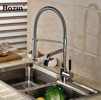Fashion Dual Swivel Spout Kitchen Sink Mixer Faucet Deck Mount Brass Kitchen Water Tap Pull Down