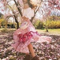Khale Yose Floral Maxi Skirts High Waist Boho Chic Pink Women Skirts Bohemian Ruffles Flower Long Gypsy Hippie Pink Beach Skirt