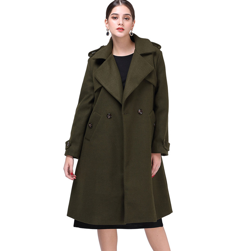 olome 2019 new winter coat women blends manteau femme hiver single button thick coat solid long