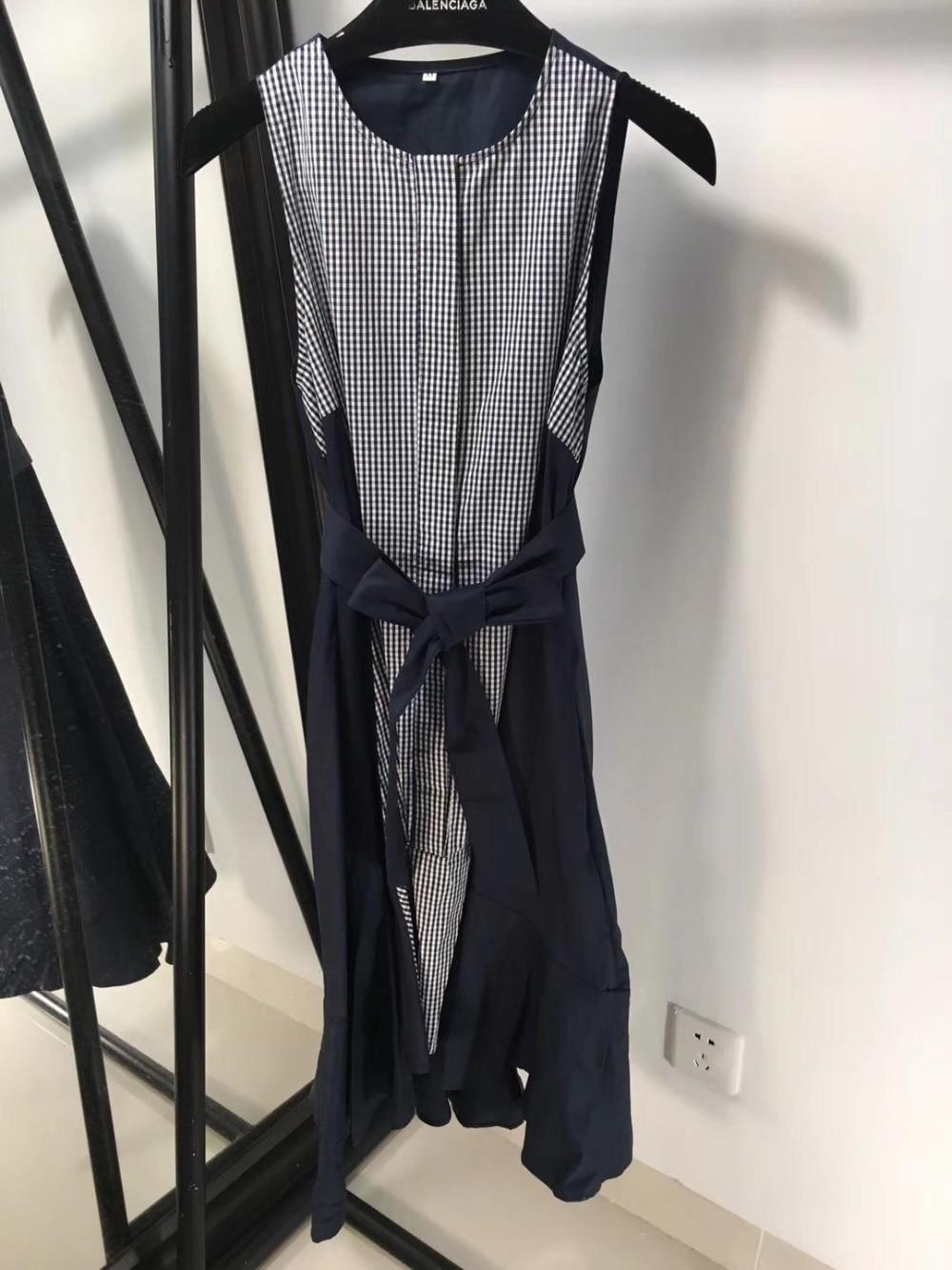 2019 summer plaid stitching dovetail vest dress 0411