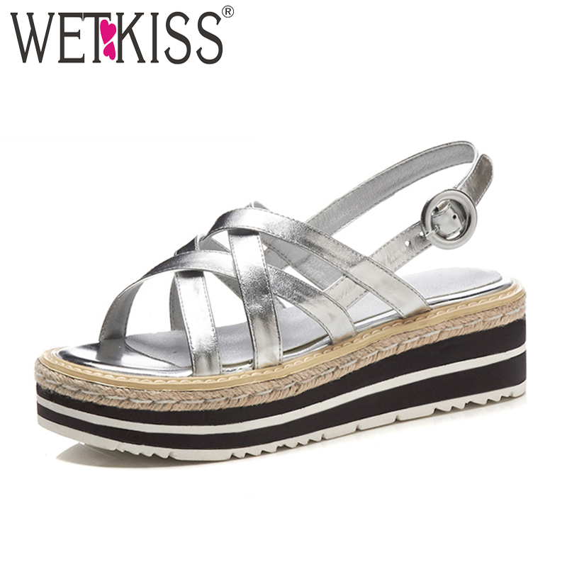 WETKISS Genuine Leather Summer Women Sandals Wedges Footwear 2018 New Fashion Casual High Heels Cross Tied Girl Platform Shoes woman fashion high heels sandals women genuine leather buckle summer shoes brand new wedges casual platform sandal gold silver