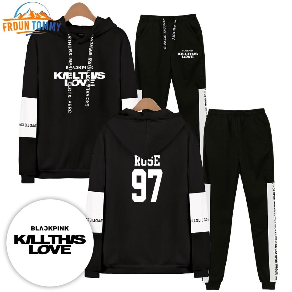 2019 Blackpink Korea Kpop Men/Woman Hoodies Sweatshirts And Sweatpants Hot Sale Casual Two Piece Fashion Set Hooded Suit Pants