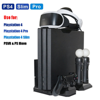 PS4 Pro Slim & PS VR Multifunctional Vertical Cooling Stand Cooler, PS Move & PS4 Controller Charging Station