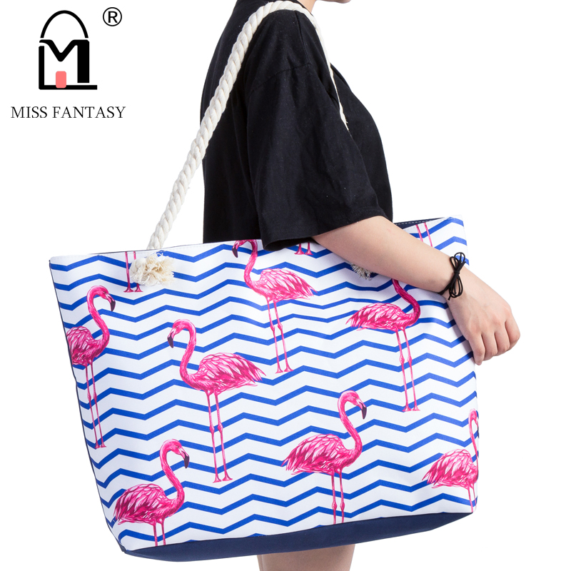 Women Bag Polyester Waterproof Handbag Summer Beach Bag Flamingo Printed Large Size Tote Bags Travel Holiday Handbag Weekend Bag