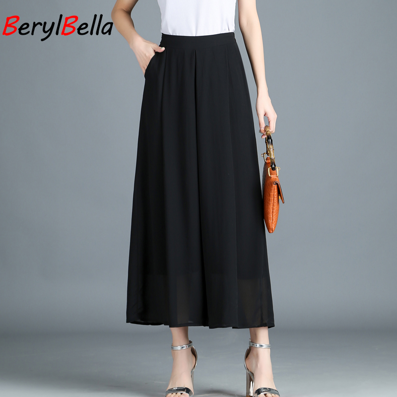 2018 Spring Summer Korean Chiffon   Wide     Leg     Pants   Female High Elastic Waist Loose Thin Section Ankle-length   Pant   For Office Wear