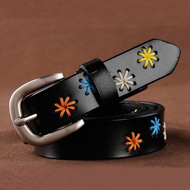 [HIMUNU]Fashion Brand Genuine Leather Belts for Women Vintage Floral Design Cowskin Belt Woman Top Quality Women belt 4 Color 2