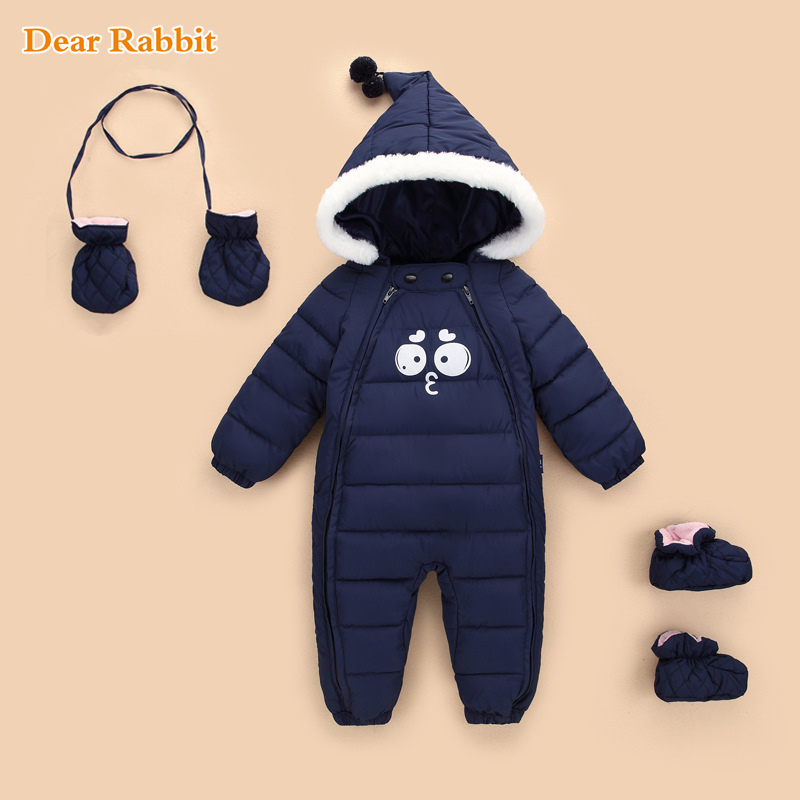 Down Cotton Baby   Rompers   spring Winter Thick Boys Girls Warm Infant Kid Jumpsuit Children Outerwear Wear 0-18m newborn clothes