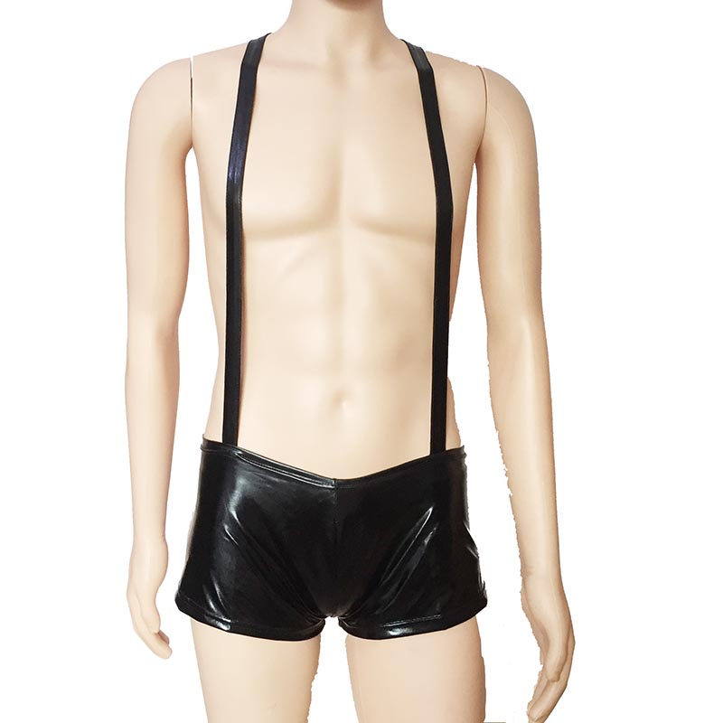 Sexy Fetiche Olhar Molhado Brilhante Homens Singlet Suspender com Cuecas Boxer Macho Show Da Noite Clube Bodysuit Lingerie Biquíni Traje