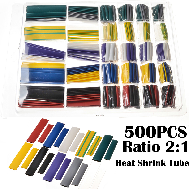 500pcs/Set Heat Shrink Tubing White Shrinkable Sleeving Cable wire Tubes Polyolefin Ratio 2:1 Electrical Equipment Wrap Tube 3 0mm dia sleeving heat shrinkable tube 200m ratio 2 1