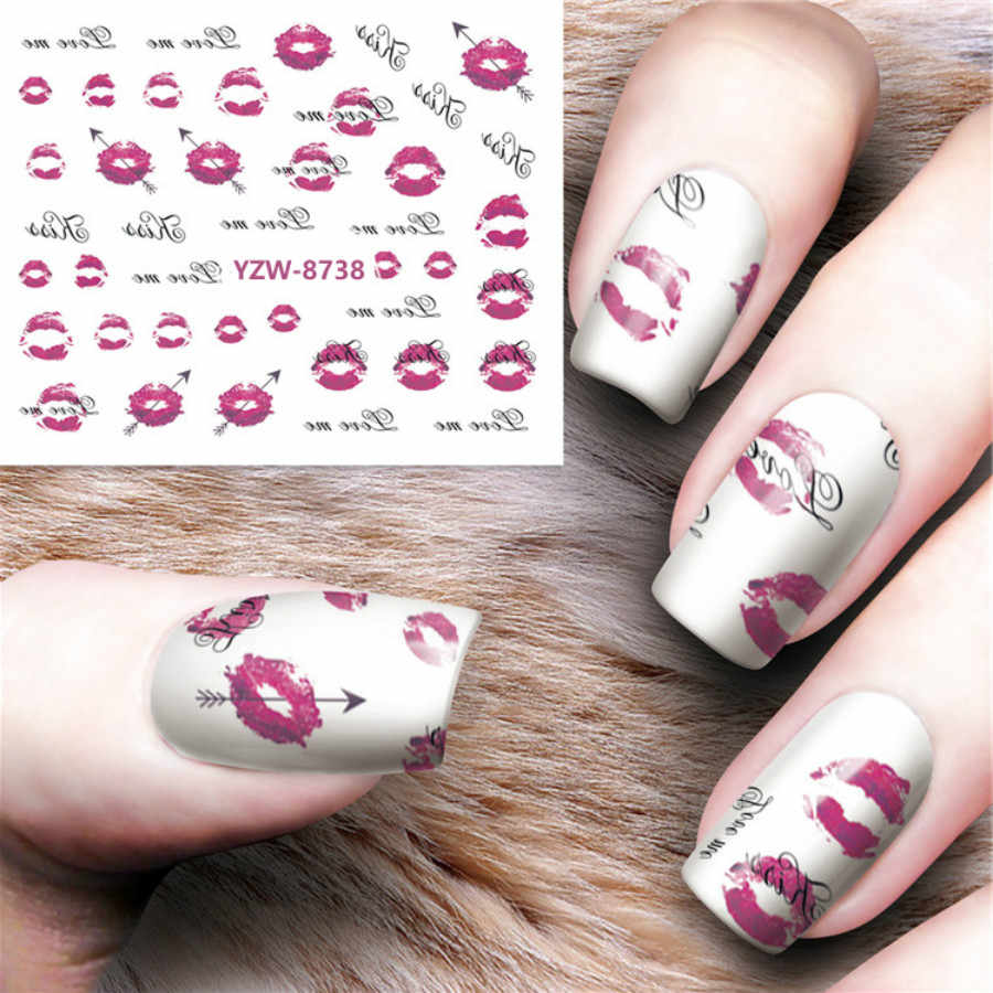 1 Sheet Nail Decorations Art Tips Feather Water Transfers Nail Sticker for Ladies Feather Decals Nail Art Tools Y8738