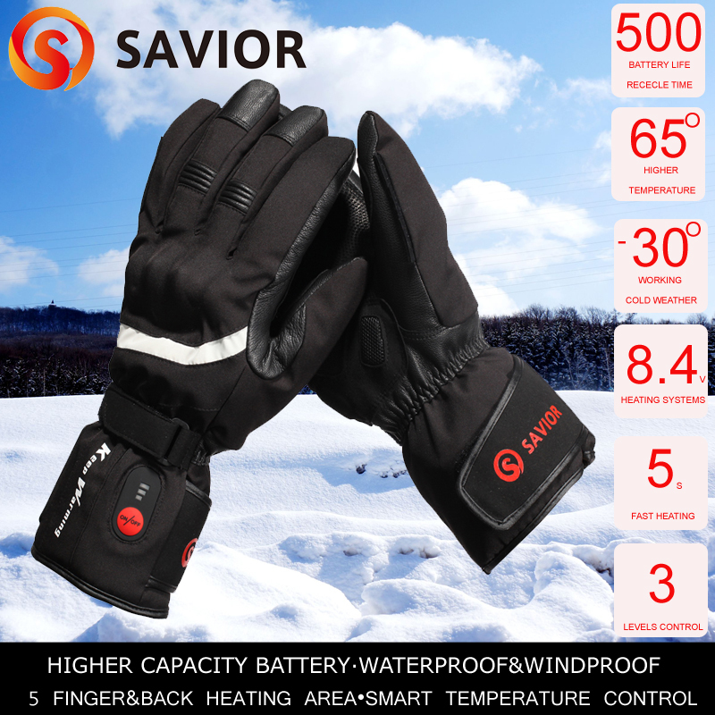SAVIOR Motorcycle Heated Glove Waterproof Full Finger Riding Racing Heating Man Keep Warming 40 65 Degree Austrila New Zealand