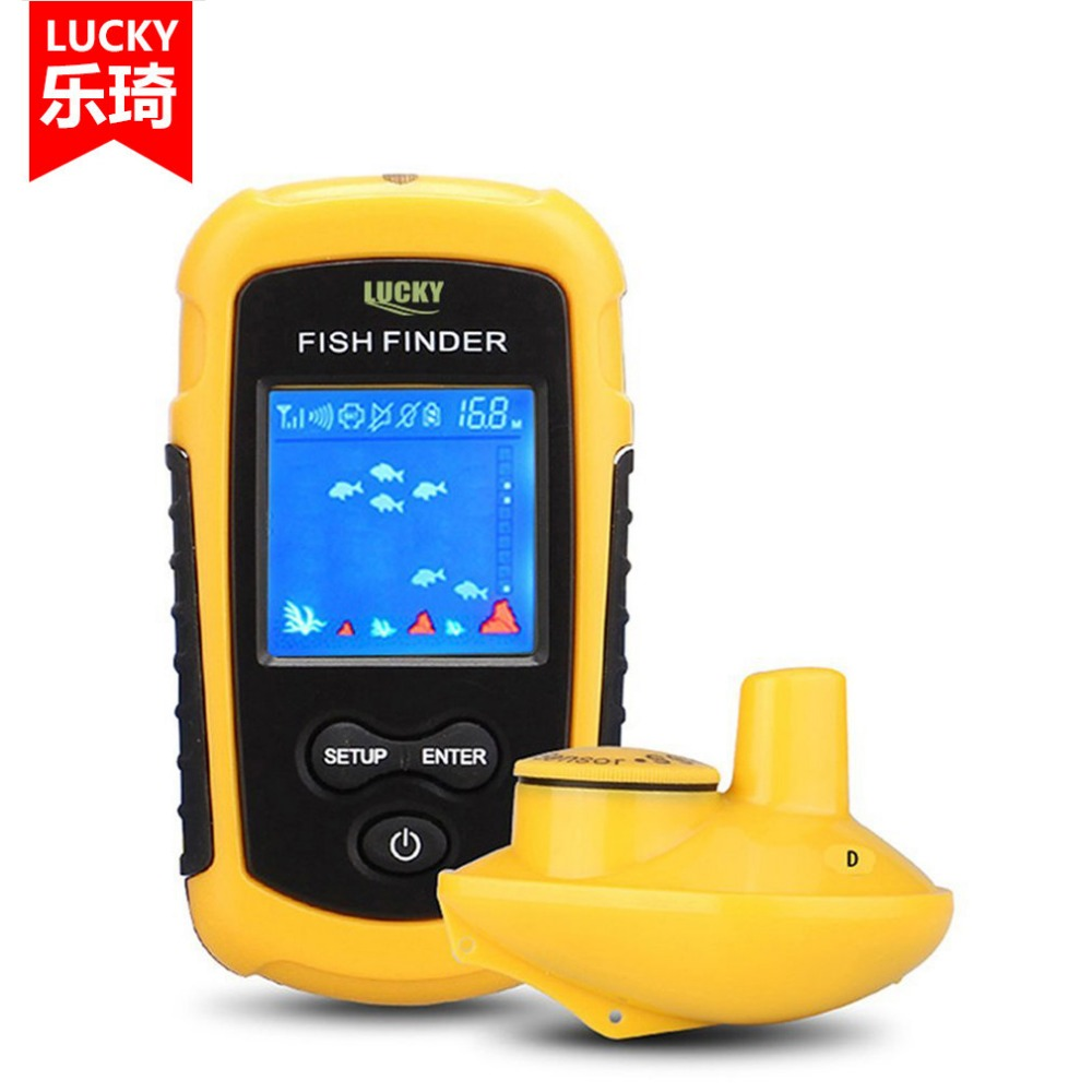 цена на LUCKY FFW1108-1 Wireless Sonar Fish Finder 40m Depth Range Ocean Lake Sea Fishing Water Resistant Fish Detector Drop Shipping