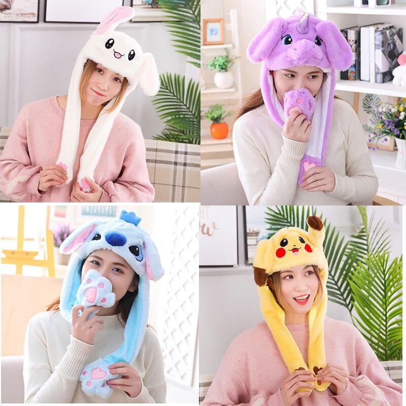 2020 menina de pelúcia movendo orelhas de coelho chapéu dos desenhos animados stich engraçado boné crianças festa pikachu airbag anime chapéus feminino mover jumping orelha chapéus