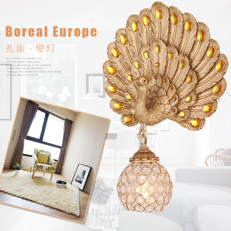 Gold and silver European-style creative peacock LED wall lamp outdoor lighting indoor modern living room wall lightfor bedroom european style led wall lamp bedside lamp modern lighting creative wall lamp wall lamp fashion background lighting fixture