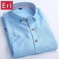 2017 Fashion Linen Men Shirt Brand Business Casual Short Sleeve Slim Fit Men's Dress Shirt Social Cotton Chemise Homme X101