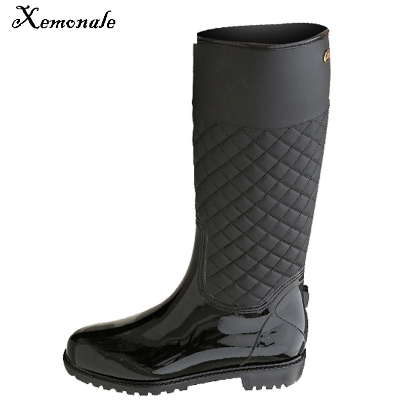 Xemonale Rain Boots Rubber Platform Shoes Woman 2017 Knee-High Women Boots Casual Creepers Slip On Flats Women Shoes WZH5421 wedges women boots 2017 new platform shoes woman creepers slip on ankle boots fashion flats casual women platform shoes zapatos