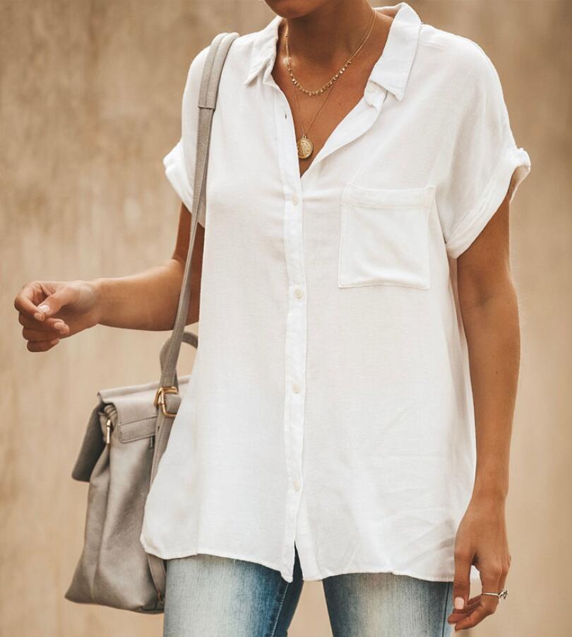 Mulheres Blusas Moda Manga Comprida Turn Down Collar Camisa Escritório Blusa De linho de Algodão Camisa Casual Tops Plus Size Roupa FemininaD4